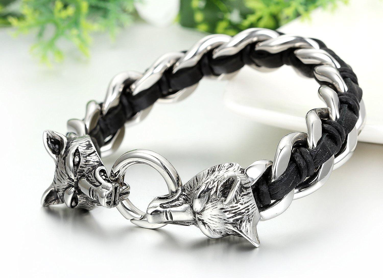 JewelryWe Bijoux Bracelet Manchette Double T/ête de Loup Tresse Acier Inoxydable Cha/îne de Main Motard Biker Couleur Noir Argent avec Sac Cadeau