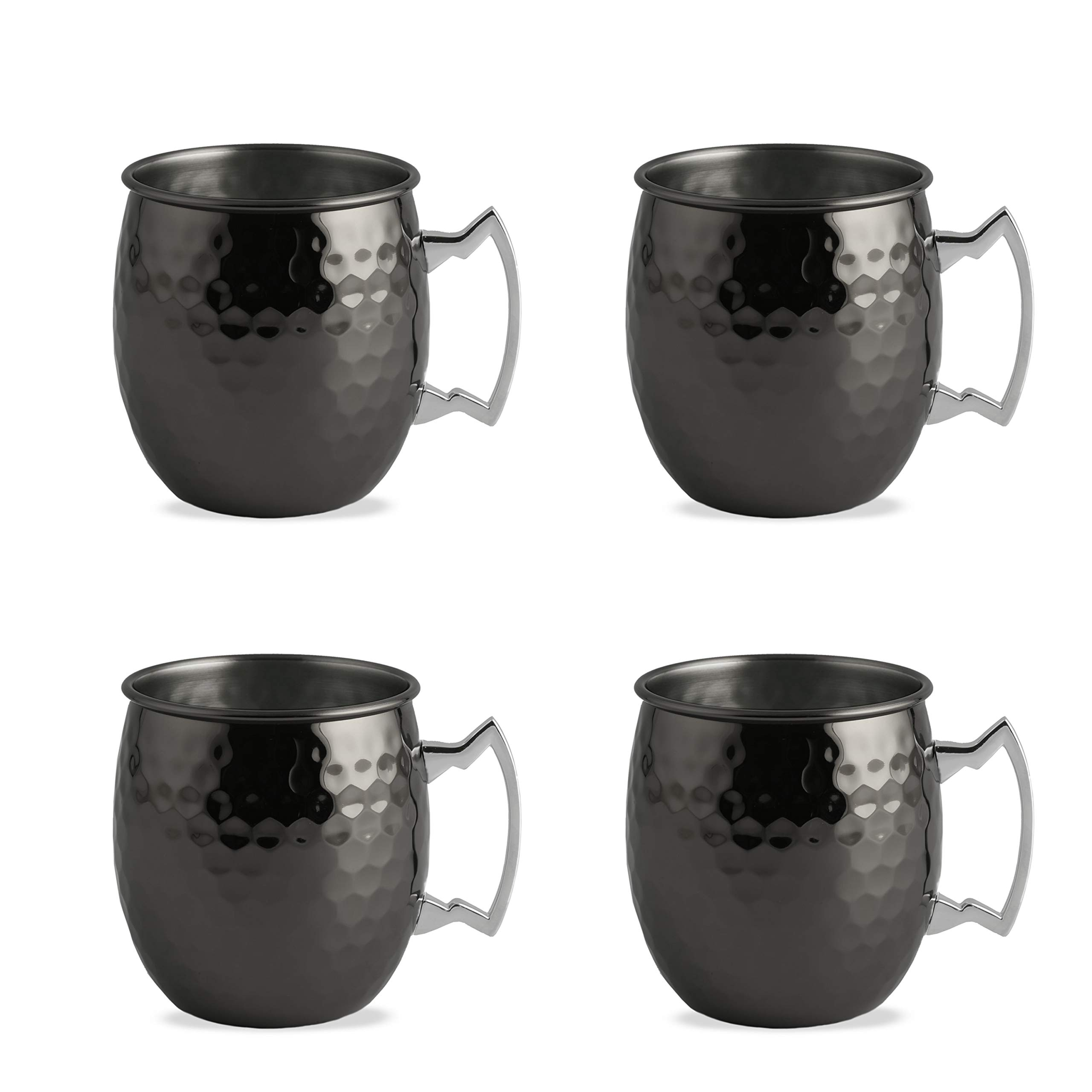 Cambridge Silversmiths 93912GTHR Faceted Metallic Black Moscow Mule Mugs, Set of 4, 20 ounce,