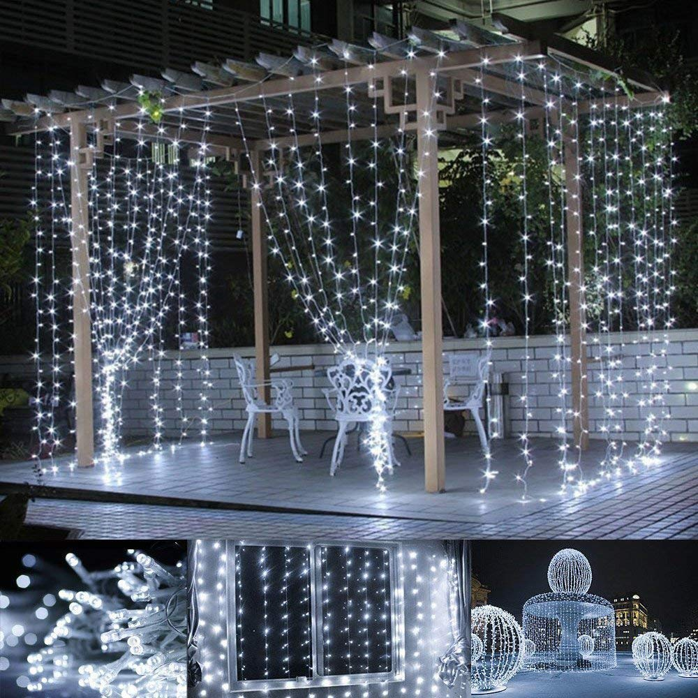 Ecloud Shop LED Curtain String Lights, 300 LED Icicle Light String, 9.8ft x 9.8ft, 8 Modes Setting, Fairy String Twinkle Lights for Indoor Outdoor Decoration Wedding Party Garden (White)