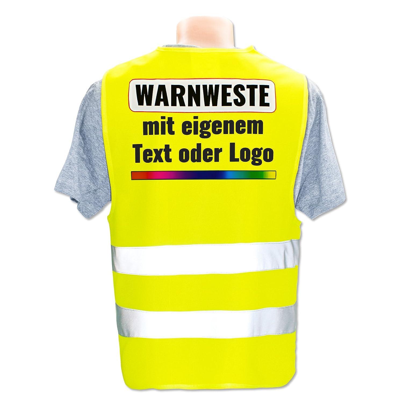 Position /& Druckart:R/ücken//Premium-Druck Warnweste mit eigenem Aufdruck selbst gestalten * Bedruckt mit Name Text Bild Logo Firma Farbe /& Gr/ö/ße:Wei/ß//Gr/ö/ße Universal bis XL