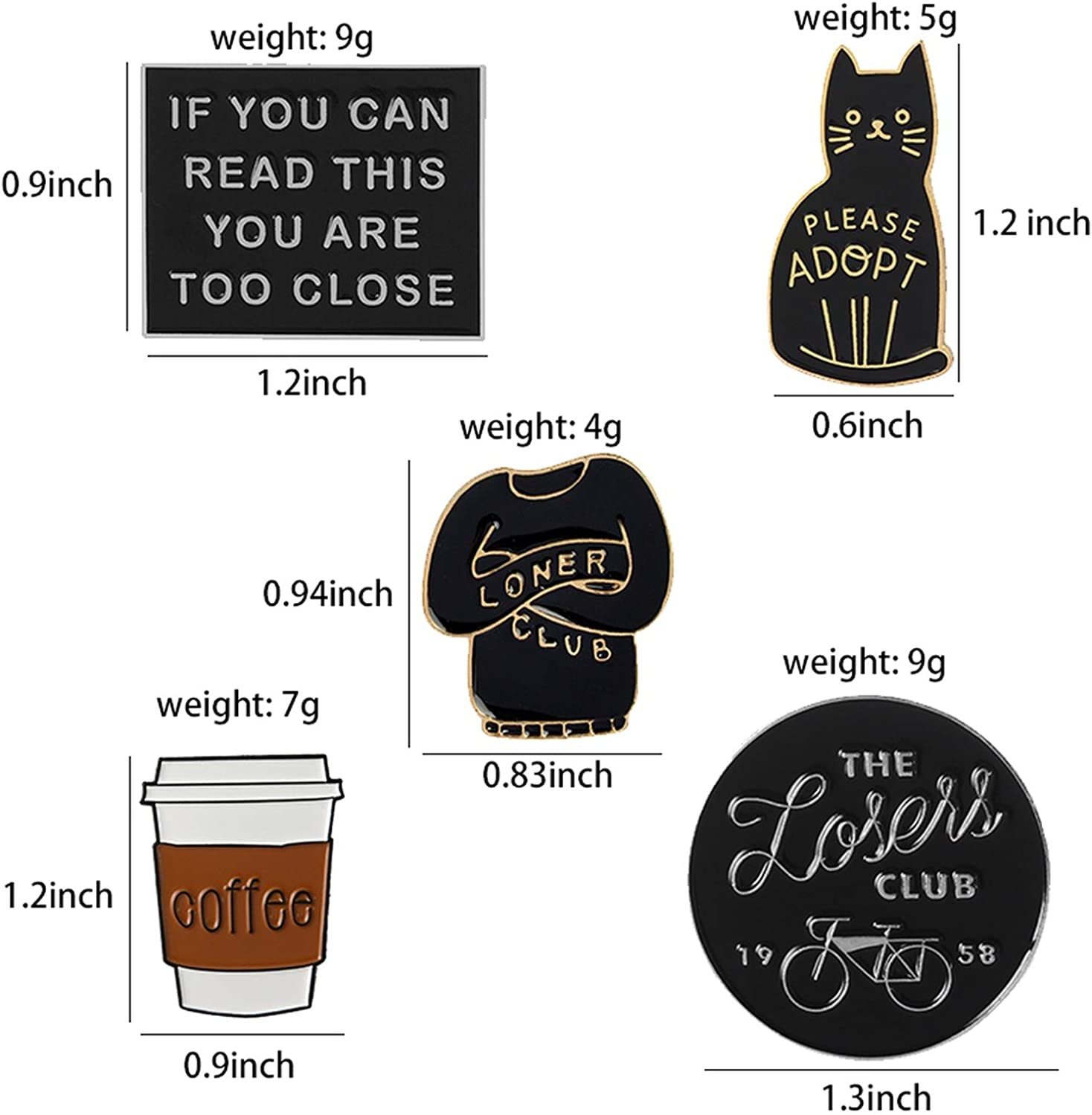 Charming-Fairy Introvert Loner Loser Club Enamel Pins Autism Badges Cat Brooches Bag Clothes Lapel Pin Punk Black White Jewelry Gift