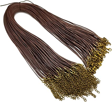 Sovenny 50 Pieces 1.5mm Brown Waxed Necklace Cord with Bronze Chain Lobster Clasp for Bracelet Necklace and Jewelry Making