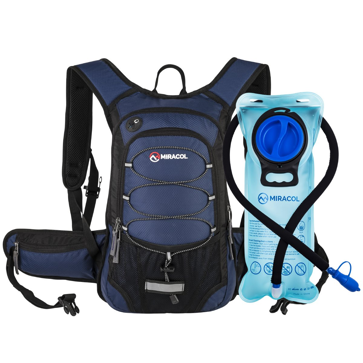 MIRACOL Hydration Backpack with 2L BPA Free Water Bladder, Thermal Insulation Pack Keeps Liquid Cool up to 4 Hours, Perfect Outdoor Gear for Hiking, Cycling, Camping, Running (Navy Blue) by MIRACOL
