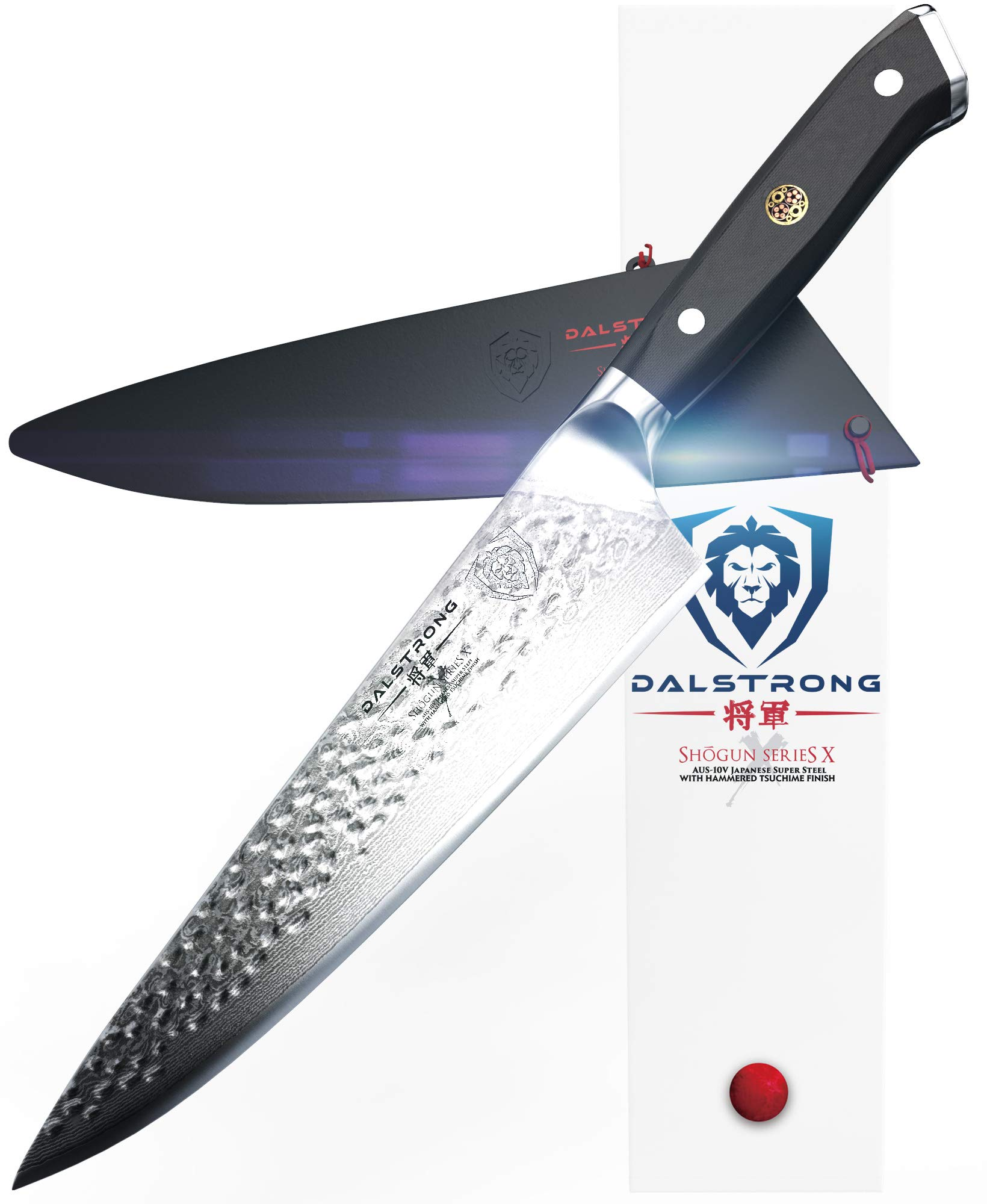 DALSTRONG Chef's Knife - 10.25'' - Large - Shogun Series X Professional Gyuto - Damascus - Japanese AUS-10V Super Steel (Vacuum Heat Treated) 67-Layers - Hammered Finish - Sheath by Dalstrong