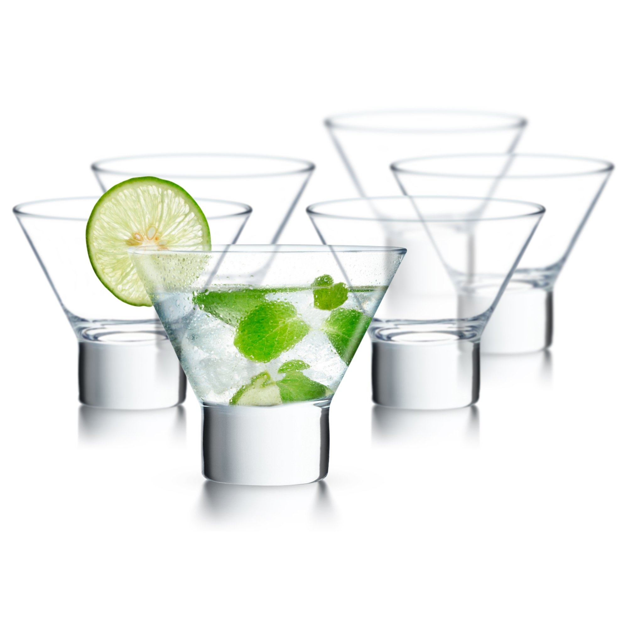 KooK Stemless Martini Cocktail Glass 8 Ounces, Set of 6