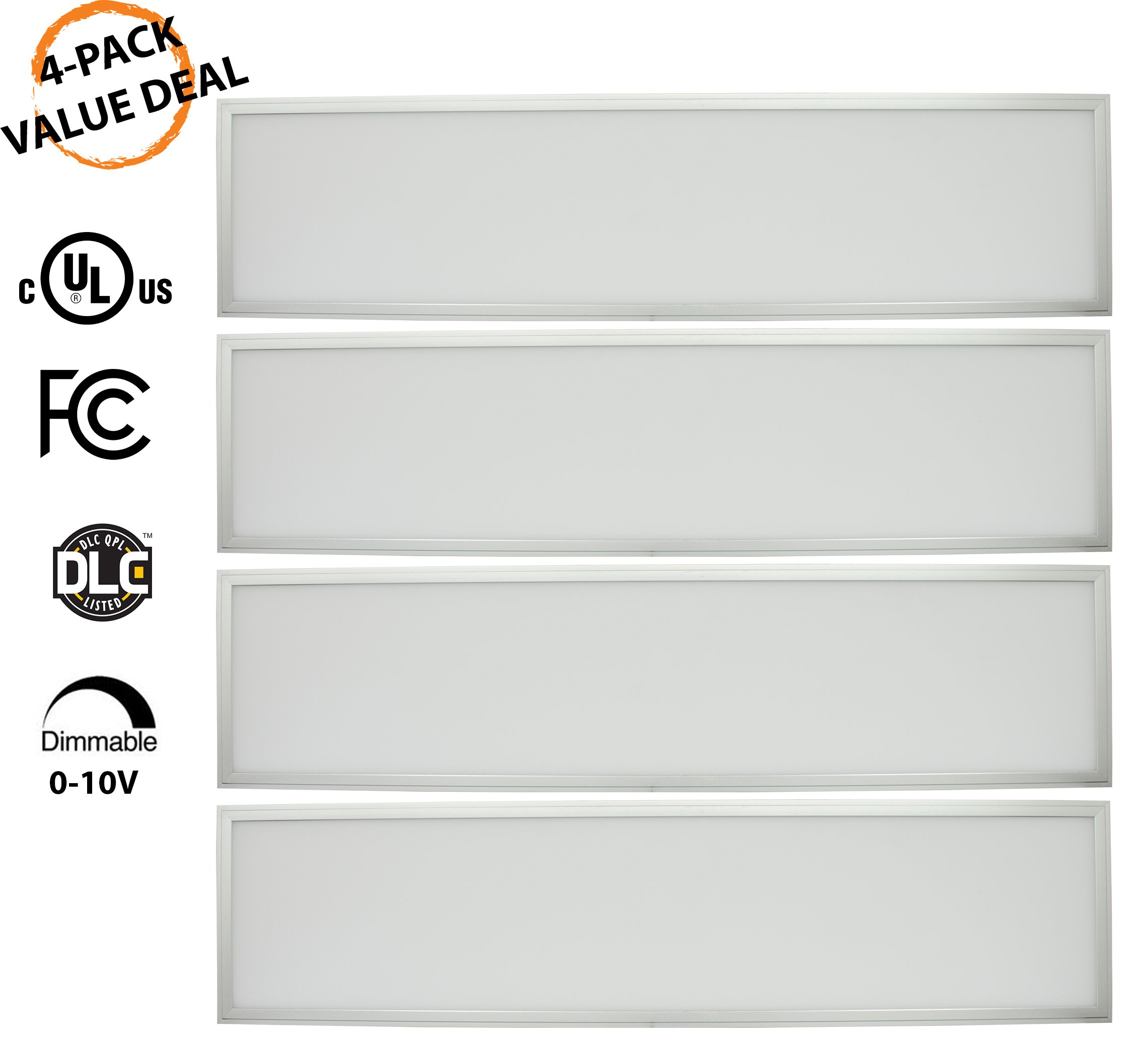 1x4 Panel Troffer Edge-Lit Flat (4 PACK) 40W; 4600 Lumens= 115LM/W; 120V-277V AC/DC; 0-10V Dimmable; 50,000 Life Hours; CRI>83; 5 Year Warranty; UL/DLC Listed; Cool White 4000K