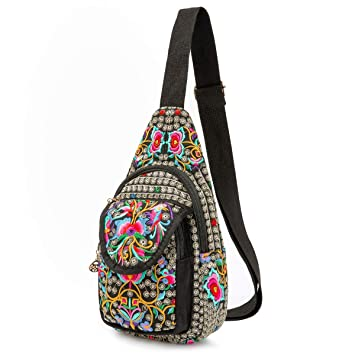 75af11dc7e6e Amazon.com: Silkarea Embroidered Canvas Sling Backpack for Women ...