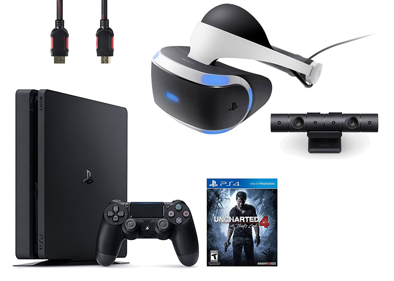 PlayStation VR Bundle 4 Items VR Headset,Playstation Camera,PlayStation 4 Slim 500GB Console – Uncharted 4
