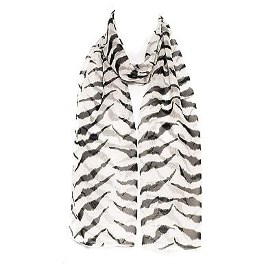 797f44521420 Filles Femmes écharpe en mousseline de soie foulard rayures zèbre blanc et  noir châle