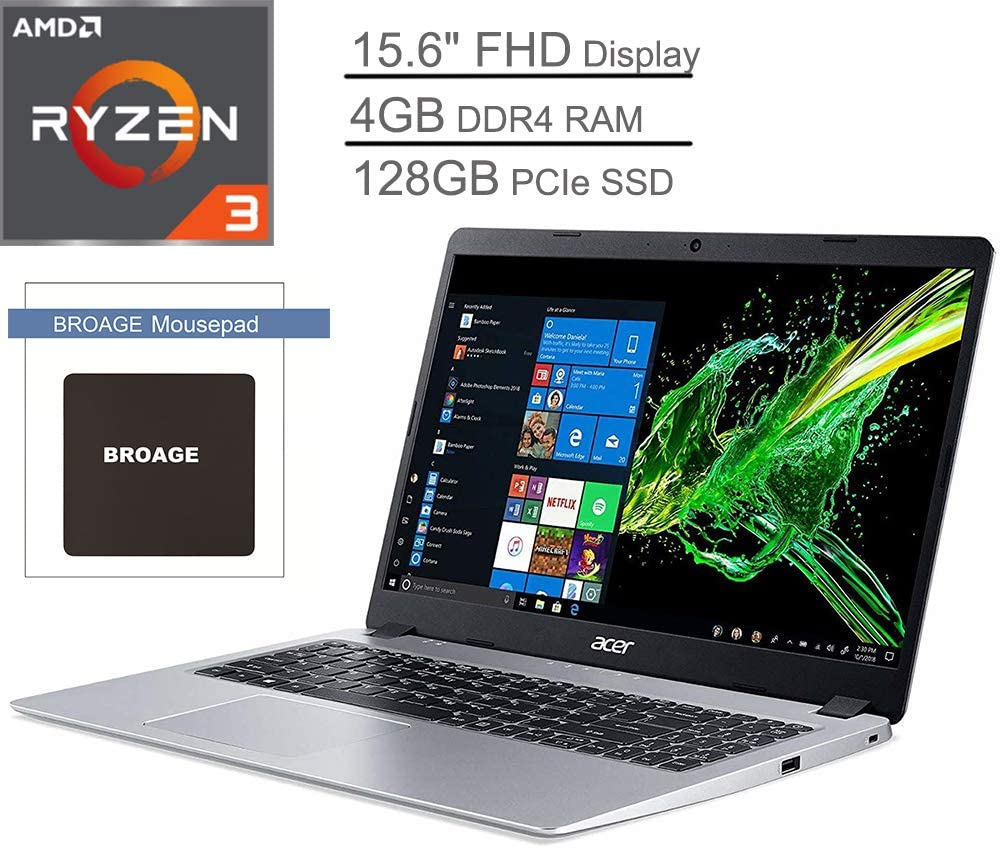 "Acer Aspire 5 15.6"" FHD Laptop Computer_ AMD Ryzen 3 3200U Up to 3.5GHz (Beats i5-7200U)_ 4GB DDR4_ 128GB PCIe SSD Windows 10_ BROAGE Mouse Pad"