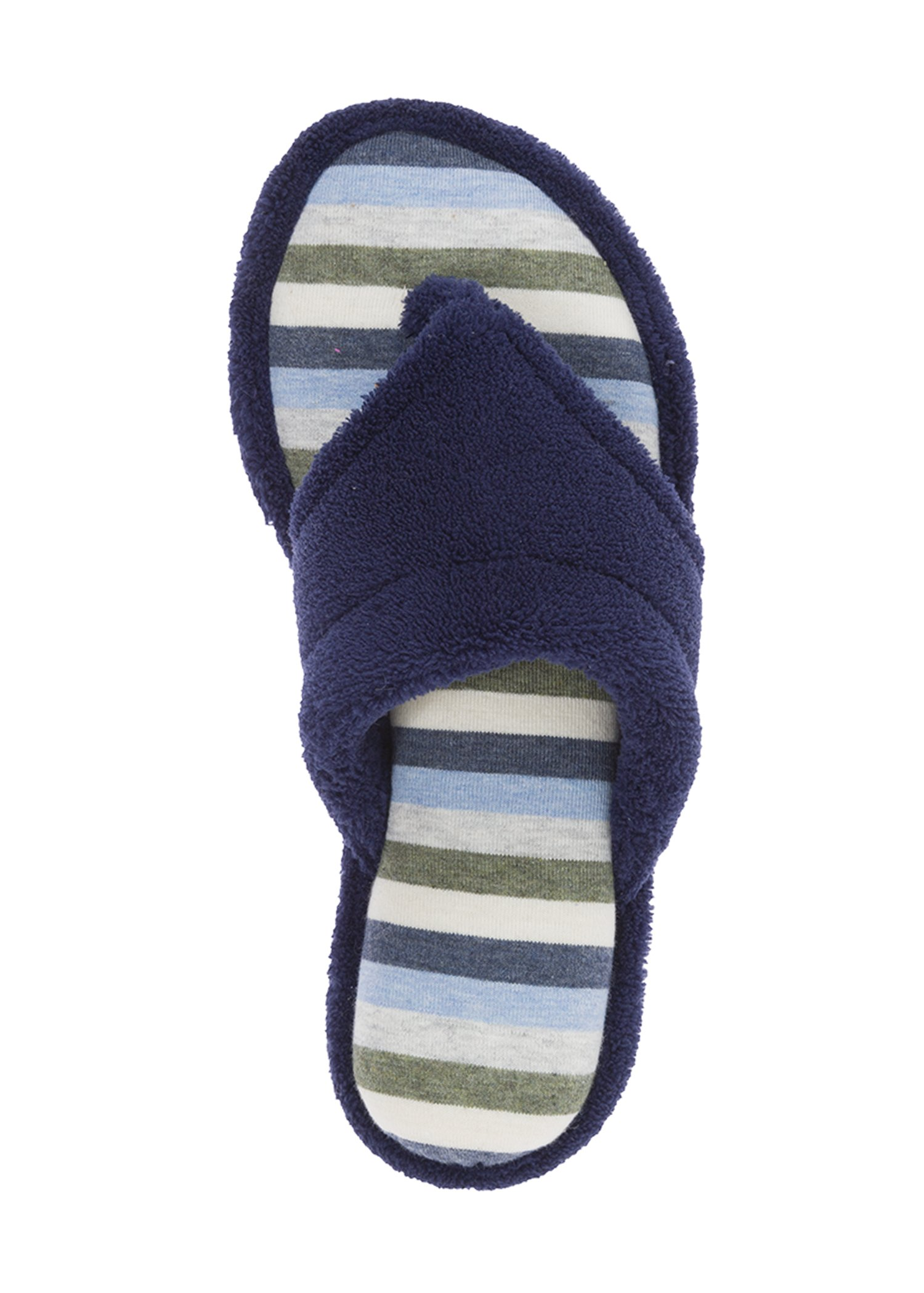 Dearfoams New Striped Women's Thong Slippers (Large, Peacoat)
