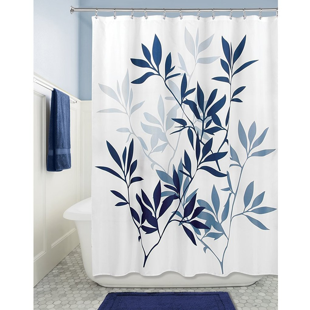 QHGstore Leaf Printing Waterproof Polyester Fabric Shower Curtain Partition  Curtain deep blue