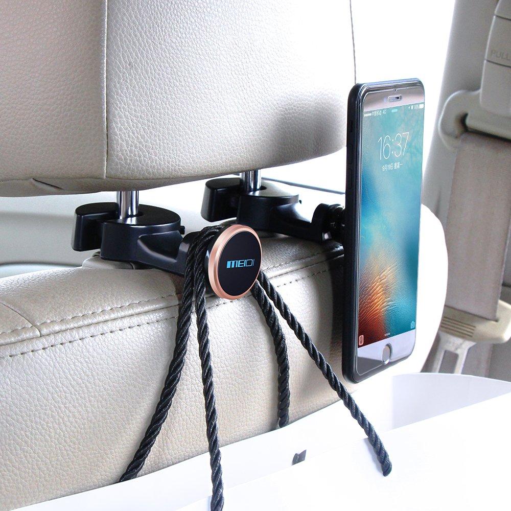 MEIDI Supporto per poggiatesta Sedile Posteriore Gancio per Supporto Magnetico Auto Blu-2 pacchi