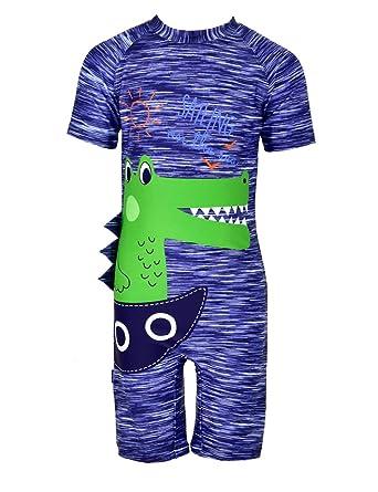 0548951ccd294 Karrack Kid One Piece Swimsuit Rash Guard for Boys Cartoon Crocodile Short  Sleeve Shirt Swimwear Bathing