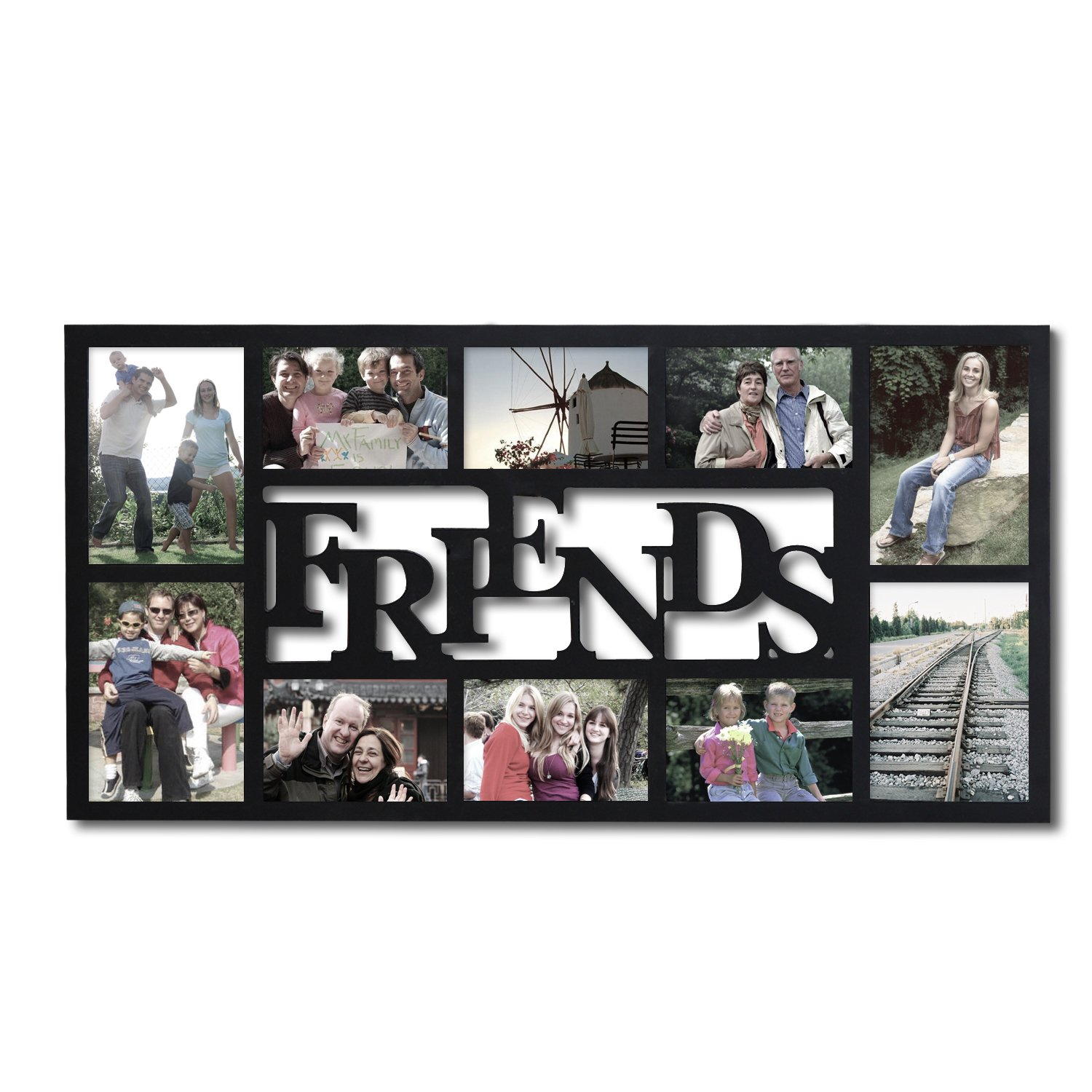Asense Black Wood 10-Openings Friends Collage Picture Photo Frame for Wall Hanging