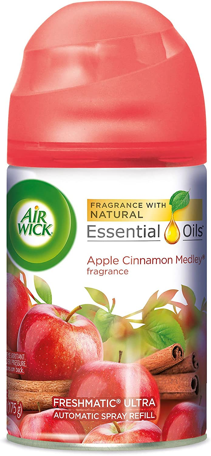 Air Wick Freshmatic Automatic Spray Air Freshener, Apple Cinnamon Medley Scent, 1 Refill 6.17 oz (Pack of 3)