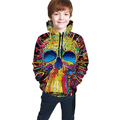 Jieyang Skull Fashion 3D Digital Print Hoodie Shirt Pocket Unisex Teen Hooded Sweate Sweatshirt