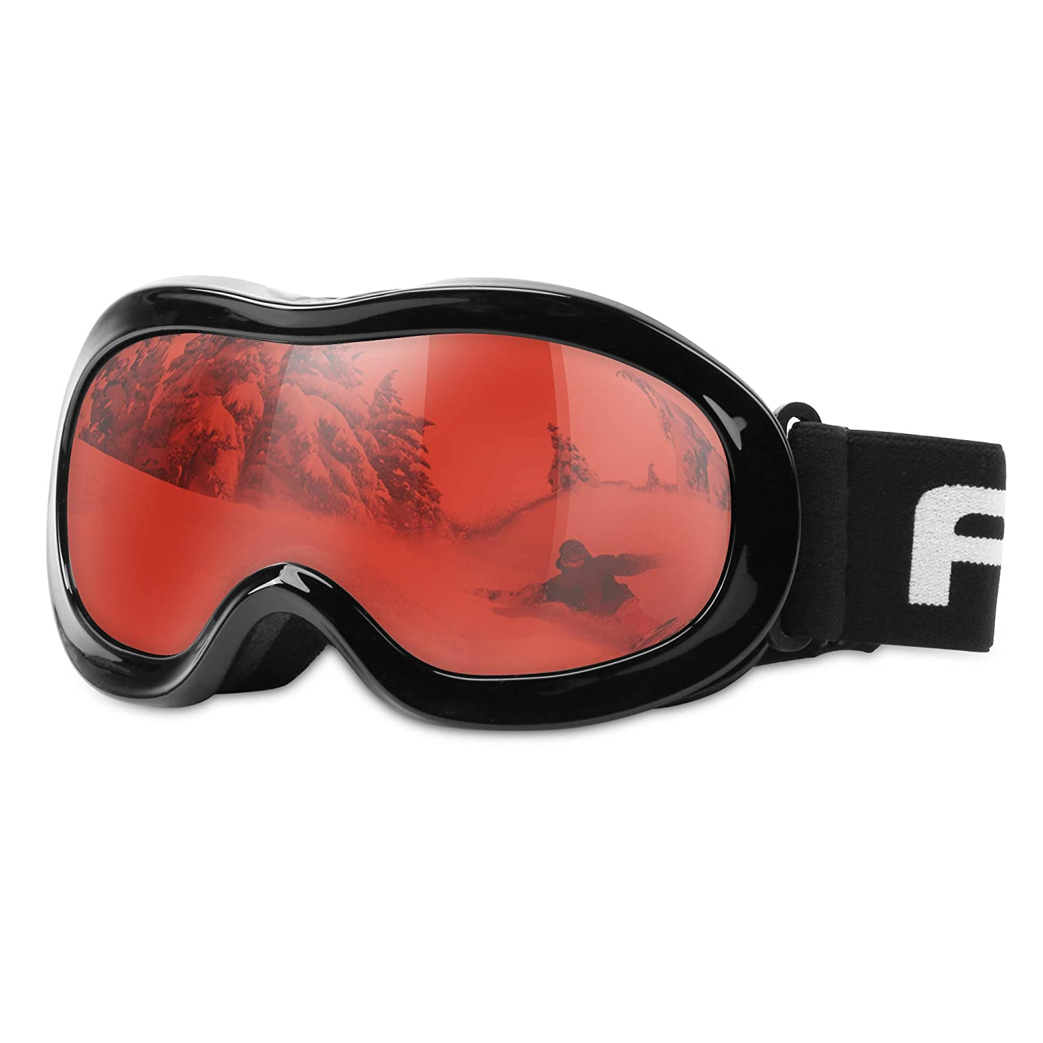 Kids Teenagers 100 Uv Protection Double Layer Spherical Lenses Akaso Explore Oregon Snow Goggles For Youth Vlt 16 5 Kids Ski Goggles Helmet Compatible Snowboard Goggles Anti Fog Black Frame Red Lens