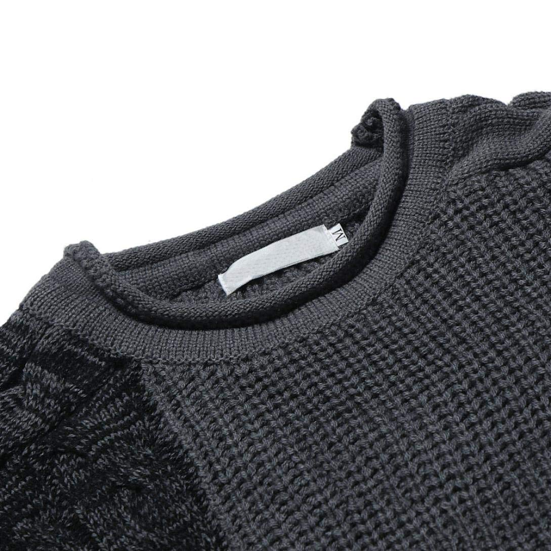 Willsa Mens Sweater Autumn Winter Pullover Knitted Raglan Patchwork Color Tops Casual Tops