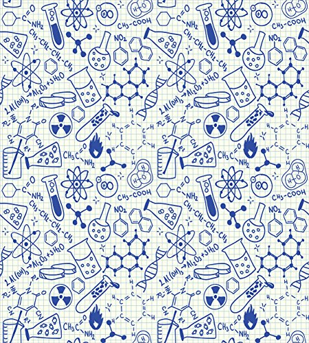 Ambesonne Kids Decor Duvet Cover Set, Science Chemistry Geometry Math Nerd Geek Genius Themed Design Artwork, 3 Piece Bedding Set with Pillow Shams, Queen/Full, Navy Blue and White
