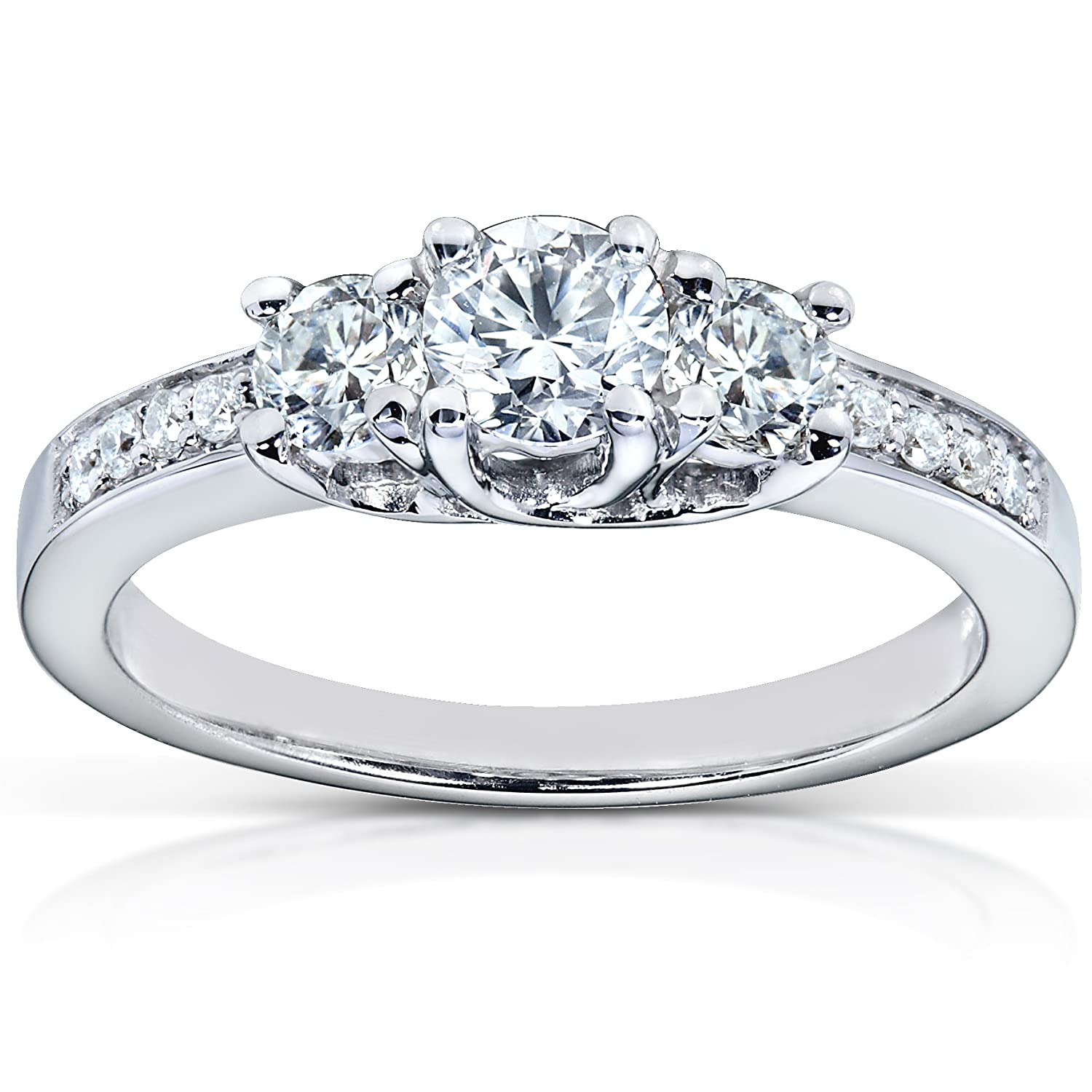 1 2ctw Three Stone Round Brilliant Diamond Engagement Ring in 14K