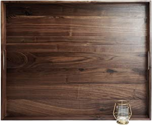 MAGIGO 30 x 24 Inches Extra Large Rectangle Black Walnut Wood Ottoman Tray with Handles, Serve Tea, Coffee or Breakfast in Bed, Classic Wooden Decorative Serving Tray