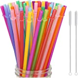 "Hiware 52 Pcs Reusable Plastic Straws for Tumbler, Mason Jars, Cupture/Maars Acrylic, YETI/RTIC, Starbucks, Tervis, - 10.25"""