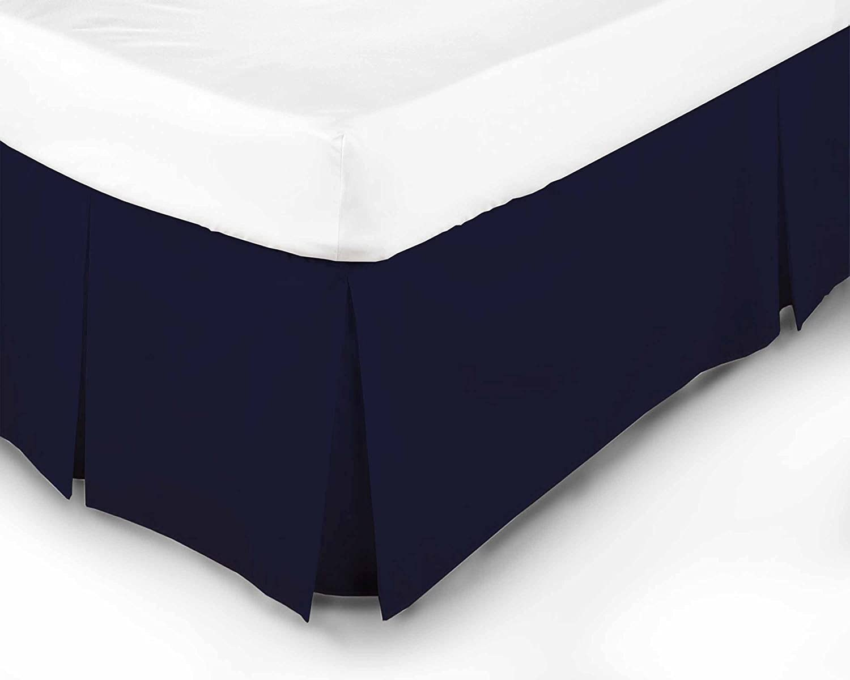 Bleu Double 50 /% polyester Textile En ligne Luxe 68 Pic Poly-Coton Cache-sommier Bleu Marin bleu 50 /% coton