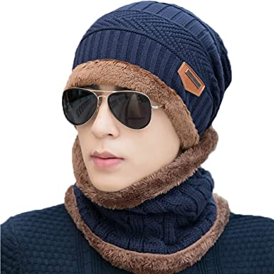 Gaatpot Knitted Beanie Hat and Circle Warm Scarf Set with Fleece Lining 3ccaa24967fa