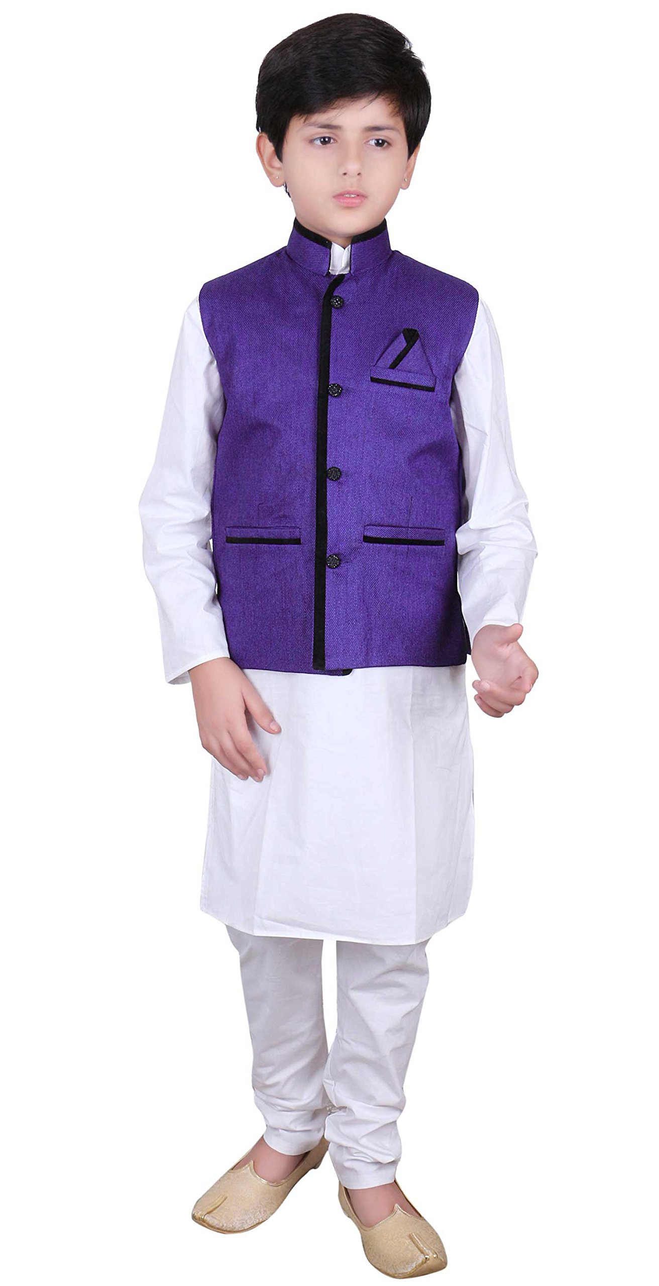 Boys Indian traditional Modi Nehru Gandhi Style Blue kids Waistcoats for Bollywood party 009 (5 (5 yrs), Blue)