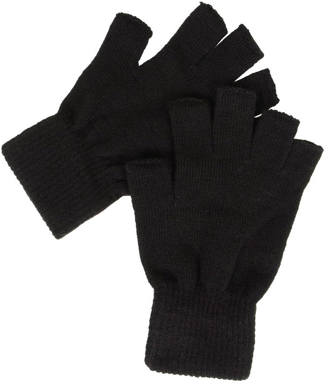 Fingerlose Thermo Handschuhe Schwarz Bekleidung