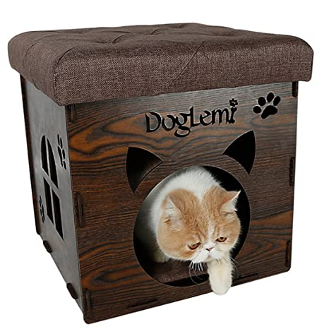 hipsteen Animales Pequeños Casa 2 en 1 DIY mascota Animales cama plegable mascotas Casa taburete para