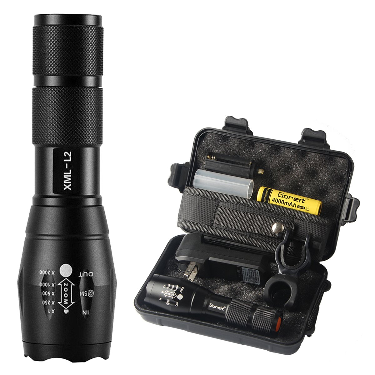 Goreit X800 Military Zoomable Ultra Bright 900 Lumens ,CREE XML T6 Rainproof Flashlight,Ajustable Focus 5 Modes,For Cycling Hiking Camping Emergency etc. (18650 AAA Battery and Charger not Included)