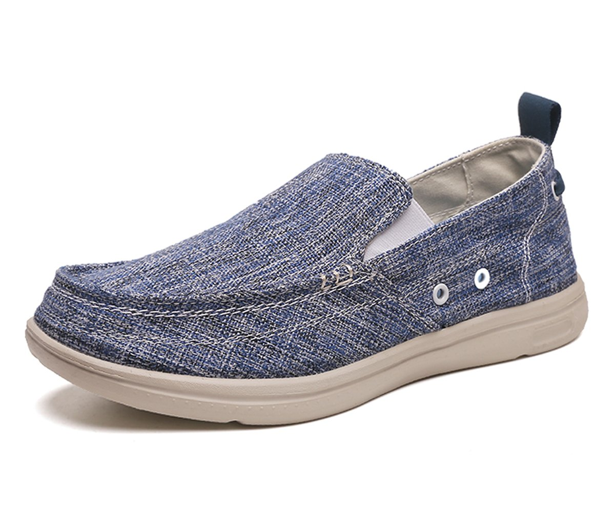 BEFAiR Lightweight Slip On Canvas Shoes Vintage Comfort Casual Loafers Breathable Boat Shoes for Men Blue (10.5 D(M) US)