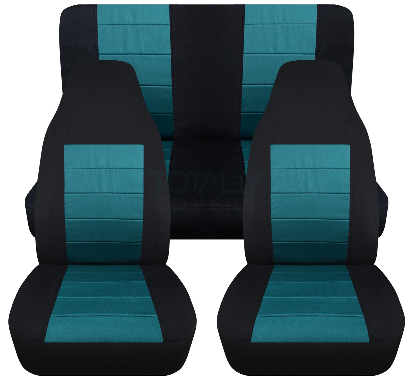 2-Tone Car Seat Covers: Black and Teal - Universal Fit - Full Set - Front Buckets & Rear Bench - Option for Airbag/Seat Belt/Armrest/Release/Lever/Split Compatible