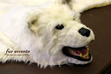 Fur Accents Original Classic Bear Skin Rug With Head / Polar Bear Off White  Faux Fur