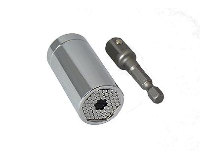 cromado Universal Grip adaptador de enchufe de 7mm a 19mm y Adaptador de accesorio de taladro