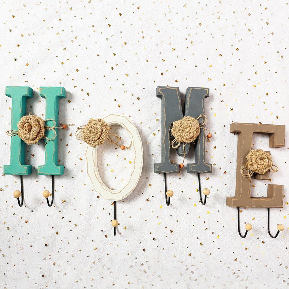 Amazon.com: Healifty English HOME Letters Coat Hat Hooks ...