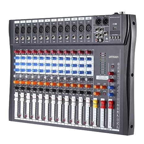 Asdomo 120S-USB 12 canales Mic Line Mezclador de audio Mesa de ...