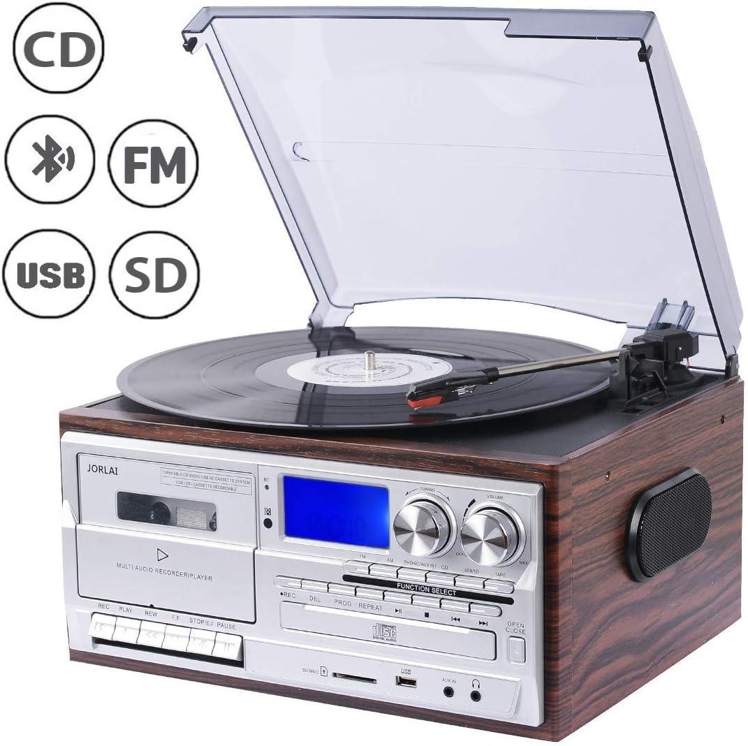 Tourne-disques avec haut-parleurs int/égr/és 3 vitesses USB AUX Cache anti-poussi/ère Platine Vinyle 78 tours Jam Play 33 Audio RCA 45 Son haute qualit/é