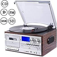 JORLAI 33/45/78 Platine Vinyle avec fonctions Bluetooth, PLL, Radio FM/AM, Lecteurs CD/MP3/Cassettes,  Enregistrement USB/SD, Entrée AUX 3.5 mm