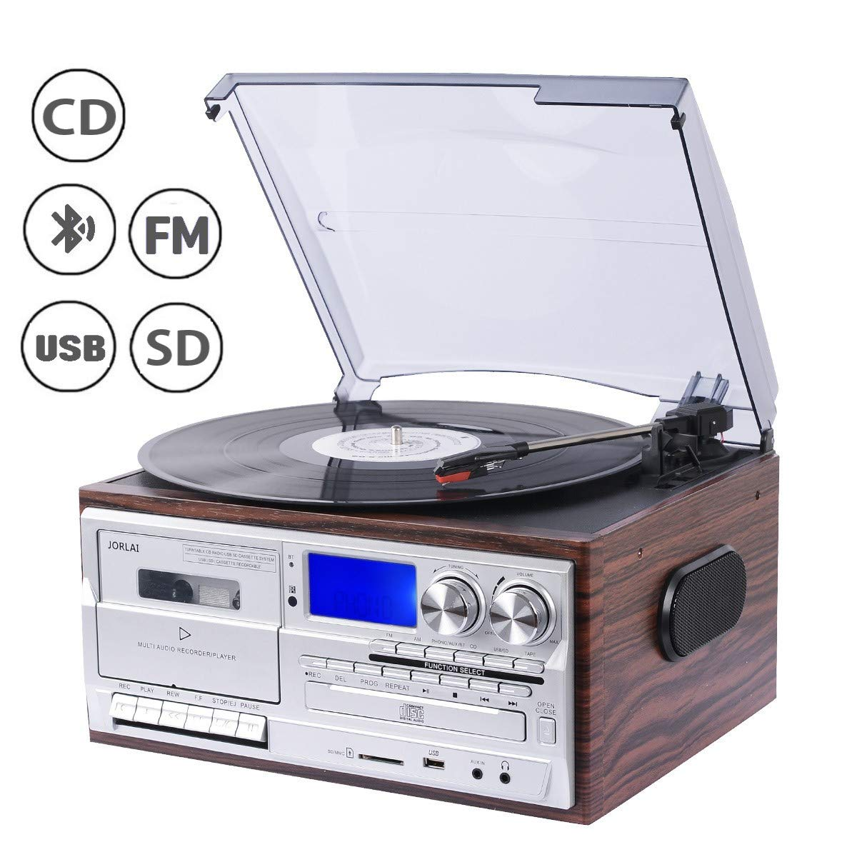 JORLAI 33/45/78 Platine Vinyle avec fonctions Bluetooth, PLL, Radio FM/AM, Lecteurs CD/MP3/Cassettes,  Enregistrement USB/SD, Entrée AUX 3.5 mm product image
