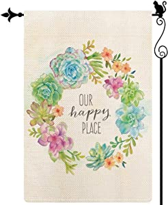 Gormcore Succulents Wreath Spring Summer Garden Flag Peace,Our Happy Place Small Flowers Garden Flag Vertical Double Sided Rustic Farmland Burlap Yard Lawn Outdoor Decor 12.5x18