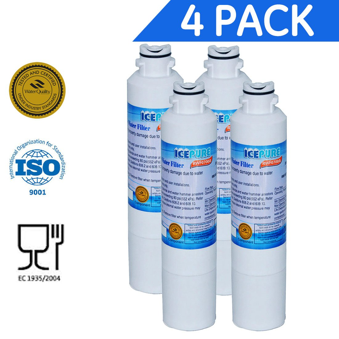 Icepure RWF0700A 4PACK Refrigerator Water Filter Compatible with Samsung DA2900020B, DA2900020A