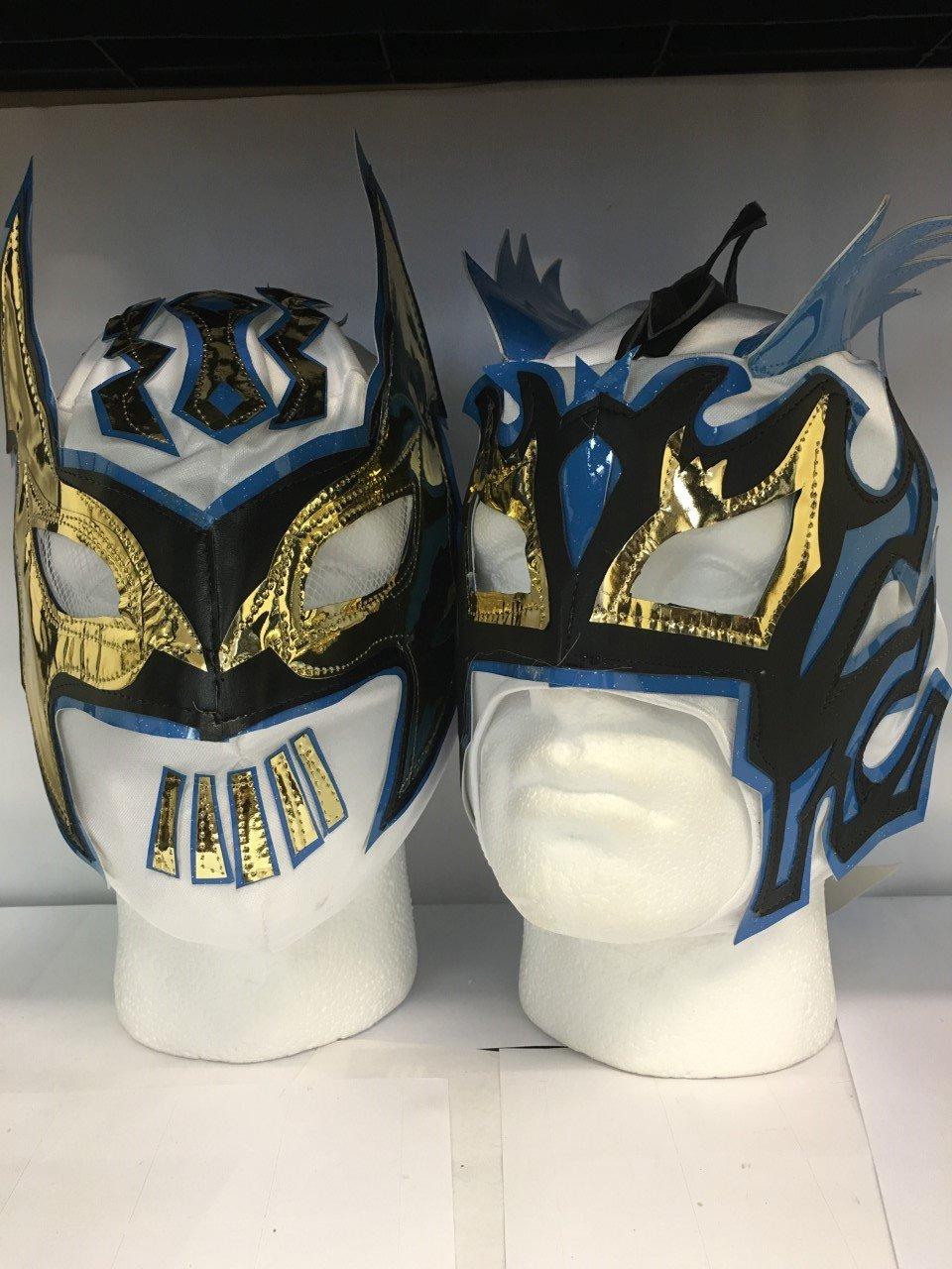 Blanc la Lucha Dragons à fermeture Éclair pour enfant Wrestling masques (les deux inclus) WRESTLING MASKS UK