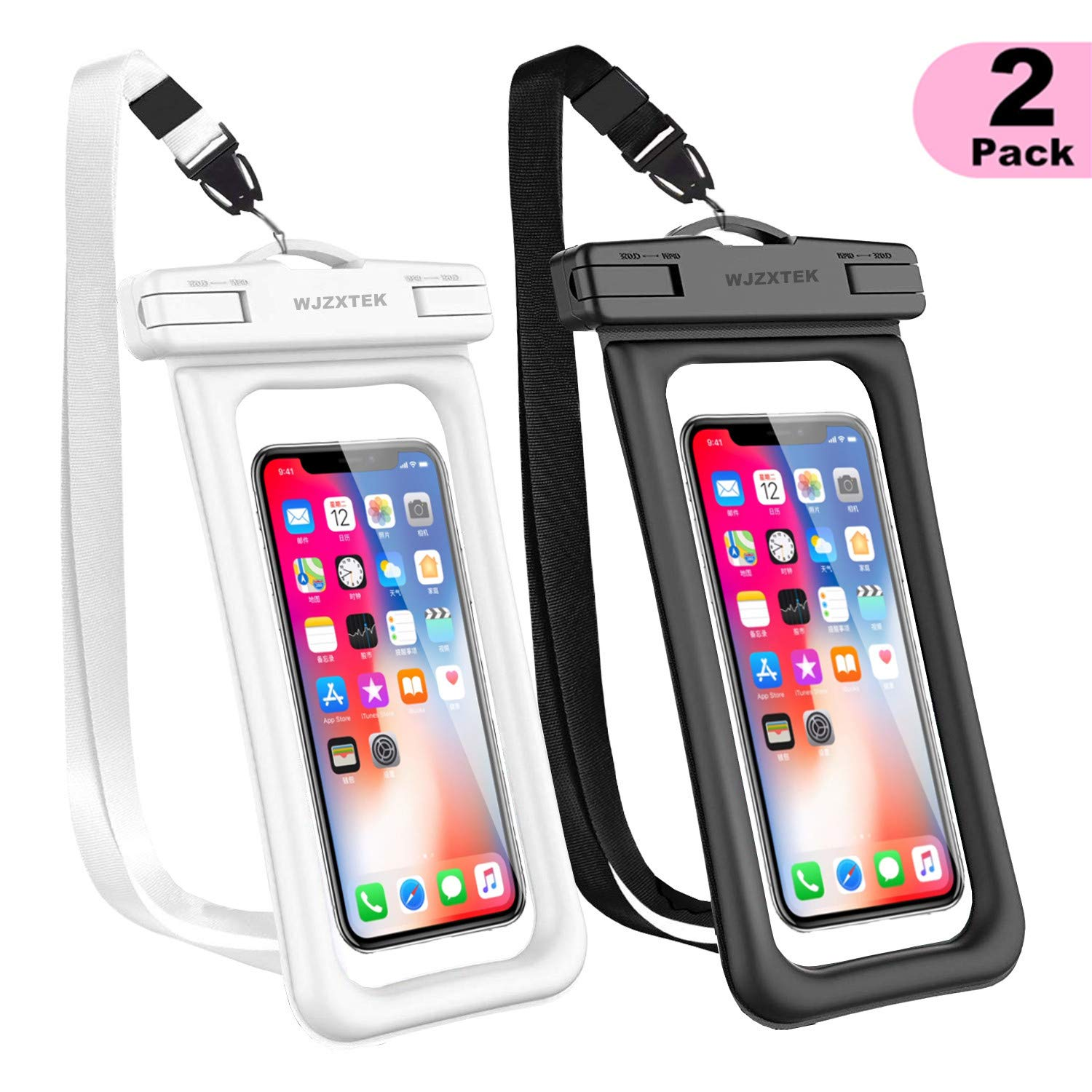 WJZXTEK Universal Floating Waterproof Case,IPX8 Waterproof Phone Pouch Underwater Dry Bag,Compatible iPhone Xs Max/Xr/X/8/8plus/7/7plus Galaxy s9/s8 Note 9/8 Google Pixel up to 6.5