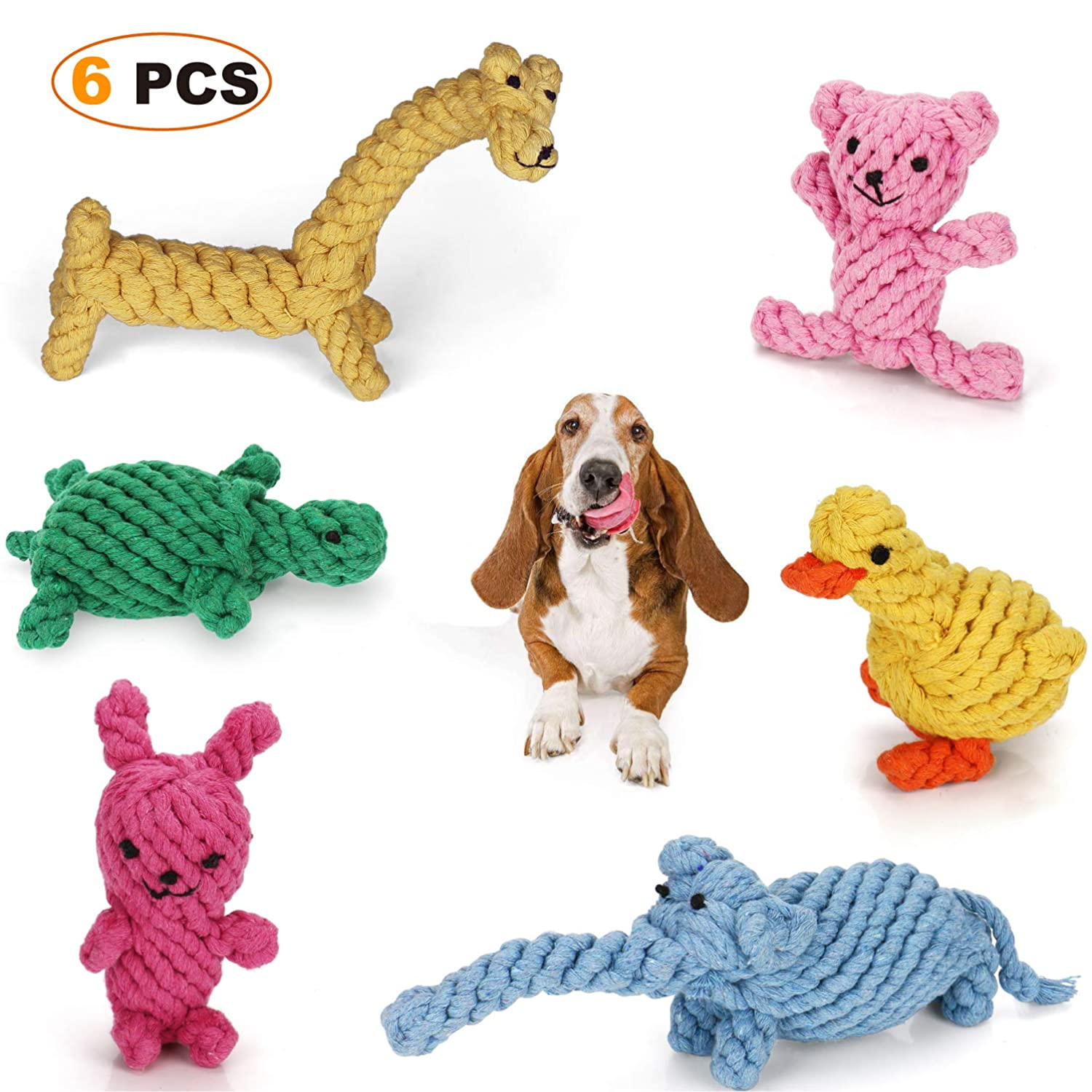 Toys Sturdy Bit -Resistente Piccolo a Medi Dog Animali domestici Teeth Cleaning Toys Dog Rope Toys Cotton Chew Toys for Small to Medium Dog Animali domestici Teeth Cleaning Toys (6)