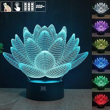 GuDoQi Lotusblume 3D LED Nachtlicht Farben Veränderte Weihnachtsbeleuchtung  Kontakt Kinder Wohn Schlafzimmer Beleuchtung
