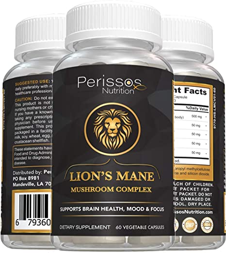 Perissos Nutrition Nootropics Brain Support Supplement Lion's Mane Mushroom Complex 60 Capsules - Brain Booster Supplement for Focus, Memory, Clarity, Energy with Natural Chaga, Maitake, and Shiitake