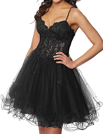 0b1aec3786 Tulle Homecoming Dresses Short Cocktail Prom Dress Formal Party Gowns  Beaded Appliques Black US 2